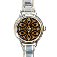 Tribal Diamonds Pattern Brown Colors Abstract Design Round Italian Charm Watch by dflcprints