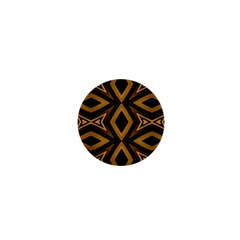 Tribal Diamonds Pattern Brown Colors Abstract Design 1  Mini Button by dflcprints