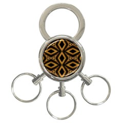 Tribal Diamonds Pattern Brown Colors Abstract Design 3 Ring Key Chain by dflcprints