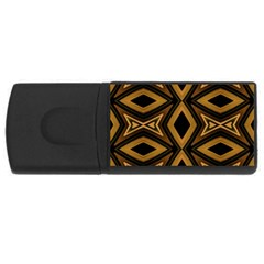 Tribal Diamonds Pattern Brown Colors Abstract Design 4gb Usb Flash Drive (rectangle) by dflcprints
