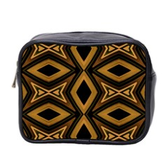Tribal Diamonds Pattern Brown Colors Abstract Design Mini Travel Toiletry Bag (two Sides) by dflcprints