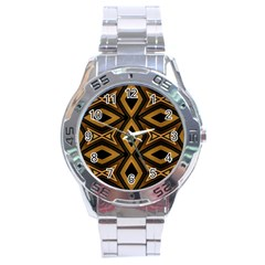 Tribal Diamonds Pattern Brown Colors Abstract Design Stainless Steel Watch by dflcprints
