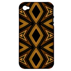 Tribal Diamonds Pattern Brown Colors Abstract Design Apple Iphone 4/4s Hardshell Case (pc+silicone) by dflcprints