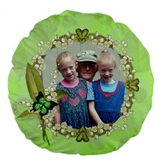 Green Leaf Pattern 18  Premium Round Cushion By Kim Blair   Large 18  Premium Round Cushion    Jktdiijuk50c   Www Artscow Com Back