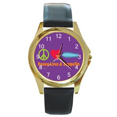 Peace Love & Zeppelin Round Leather Watch (gold Rim)  by SaraThePixelPixie