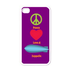Peace Love & Zeppelin Apple Iphone 4 Case (white) by SaraThePixelPixie