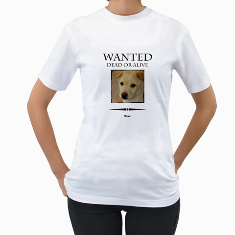 Wanted By Divad Brown   Women s T Shirt (white)    Jirobni85kjq   Www Artscow Com Front