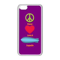 Peace Love & Zeppelin Apple Iphone 5c Seamless Case (white) by SaraThePixelPixie