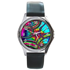 Abstract Neon Fractal Rainbows Round Leather Watch (silver Rim) by StuffOrSomething