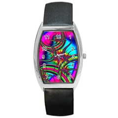 Abstract Neon Fractal Rainbows Tonneau Leather Watch by StuffOrSomething