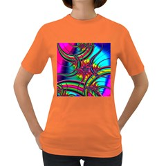 Abstract Neon Fractal Rainbows Women s T Shirt (colored)