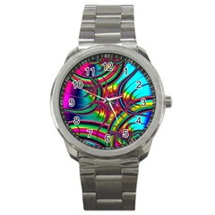 Abstract Neon Fractal Rainbows Sport Metal Watch by StuffOrSomething