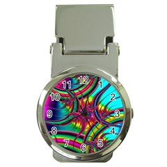 Abstract Neon Fractal Rainbows Money Clip With Watch by StuffOrSomething
