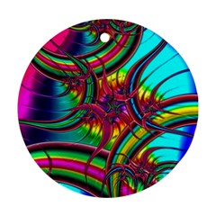 Abstract Neon Fractal Rainbows Round Ornament (two Sides) by StuffOrSomething