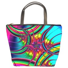 Abstract Neon Fractal Rainbows Bucket Handbag by StuffOrSomething