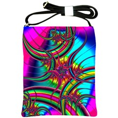 Abstract Neon Fractal Rainbows Shoulder Sling Bag by StuffOrSomething