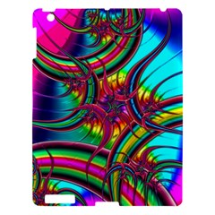 Abstract Neon Fractal Rainbows Apple Ipad 3/4 Hardshell Case by StuffOrSomething