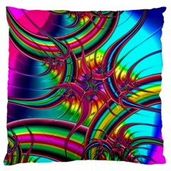 Abstract Neon Fractal Rainbows Large Cushion Case (two Sided)  by StuffOrSomething