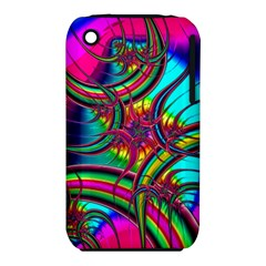Abstract Neon Fractal Rainbows Apple Iphone 3g/3gs Hardshell Case (pc+silicone) by StuffOrSomething