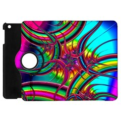 Abstract Neon Fractal Rainbows Apple Ipad Mini Flip 360 Case by StuffOrSomething