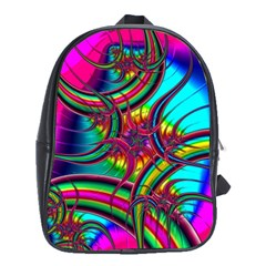 Abstract Neon Fractal Rainbows School Bag (xl) by StuffOrSomething