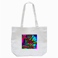 Abstract Neon Fractal Rainbows Tote Bag (white) by StuffOrSomething