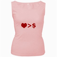 Love Is More Than Money Women s Tank Top (Pink) by dflcprints