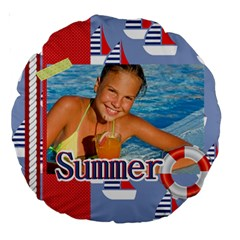 Summer By Summer Time    Large 18  Premium Round Cushion    Cyq6c1fuk9q1   Www Artscow Com Back