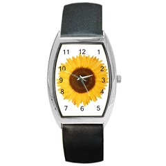 Sunflower Tonneau Leather Watch by sdunleveyartwork