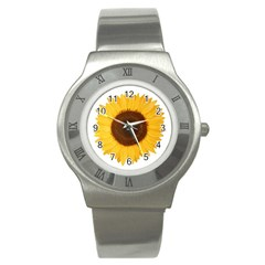 Sunflower Stainless Steel Watch (slim) by sdunleveyartwork