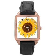 Sunflower Rose Gold Leather Watch  by sdunleveyartwork