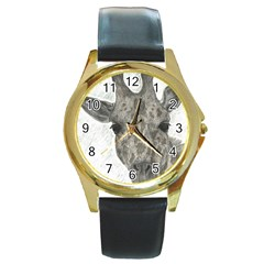 Giraffe Round Leather Watch (gold Rim)  by sdunleveyartwork