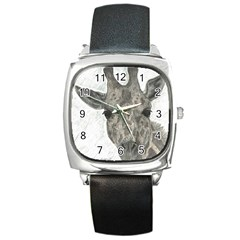 Giraffe Square Leather Watch by sdunleveyartwork