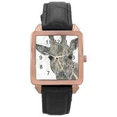 Giraffe Rose Gold Leather Watch  by sdunleveyartwork