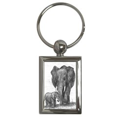 Elephant Key Chain (rectangle) by sdunleveyartwork