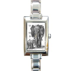 Elephant2 Rectangular Italian Charm Watch by sdunleveyartwork