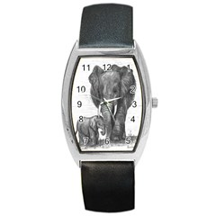 Elephant2 Tonneau Leather Watch by sdunleveyartwork