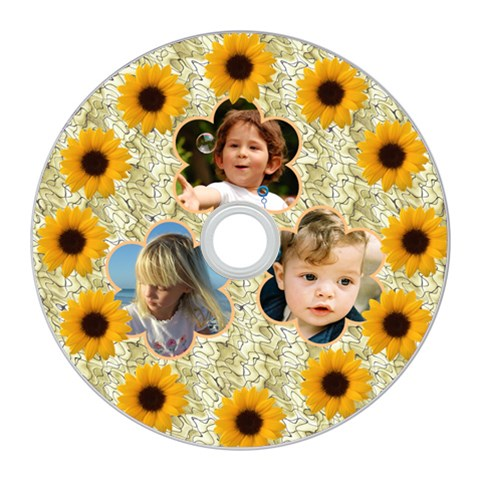 Sunflower Cd Wall Clock By Deborah   Cd Wall Clock   W45cgtzhkh1s   Www Artscow Com Front