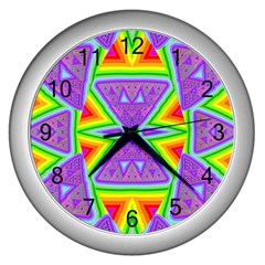 Trippy Rainbow Triangles Wall Clock (silver)