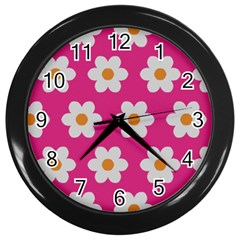 Daisies Wall Clock (black) by SkylineDesigns