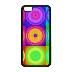 Retro Circles Apple Iphone 5c Seamless Case (black) by SaraThePixelPixie