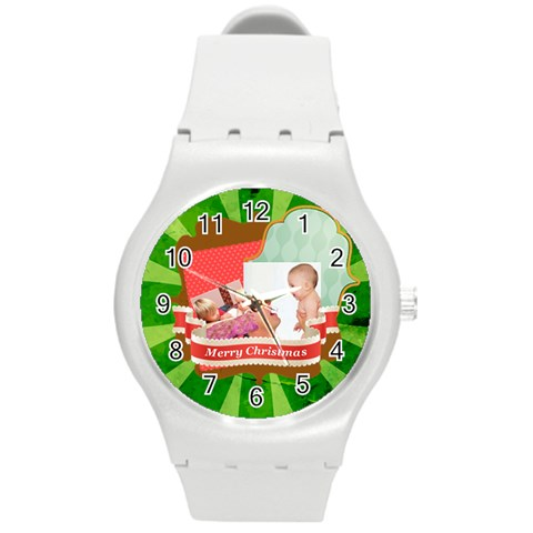 Merry Christmas By Joely   Round Plastic Sport Watch (m)   Y9fz9tjgx7nq   Www Artscow Com Front