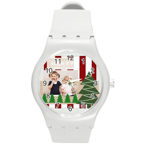 Merry Christmas By Joely   Round Plastic Sport Watch (m)   Icg9cg1n2j3d   Www Artscow Com Front