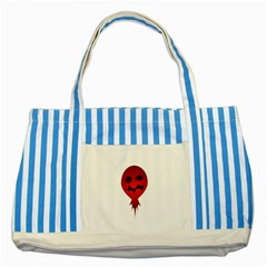 Evil Face Vector Illustration Blue Striped Tote Bag by dflcprints