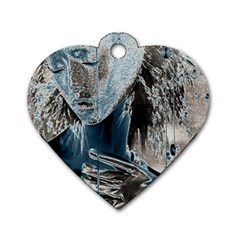 Feeling Blue Dog Tag Heart (two Sided) by FunWithFibro
