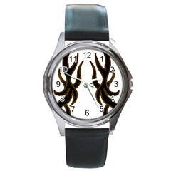 Dancing Fire Round Leather Watch (silver Rim) by coolcow