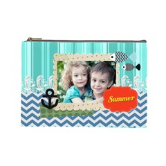 Summer By Summer Time    Cosmetic Bag (large)   26bays7fh9uc   Www Artscow Com Front