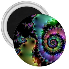 Satin Rainbow, Spiral Curves Through The Cosmos 3  Button Magnet by DianeClancy