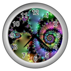 Satin Rainbow, Spiral Curves Through The Cosmos Wall Clock (silver) by DianeClancy