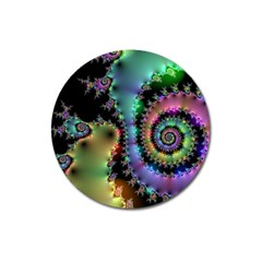 Satin Rainbow, Spiral Curves Through The Cosmos Magnet 3  (round) by DianeClancy